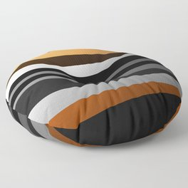 Metallic II - Abstract, geometric, metallic effect stripes, gold, silver, black Floor Pillow