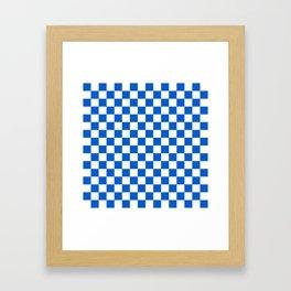Gingham Brilliant Blue Checked Pattern Framed Art Print