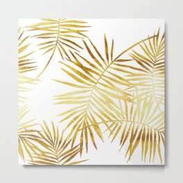 Tropical Palm Fronds in Gold Metal Print