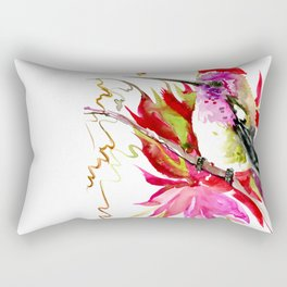 Little Hummingbird and Tropical Pink Flowers Rectangular Pillow