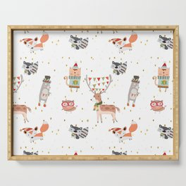 Cute Christmas Woodland Animals Serving Tray