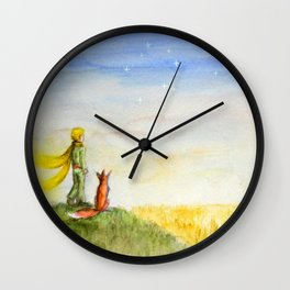 Little Prince, Fox and Wheat Fields Wall Clock