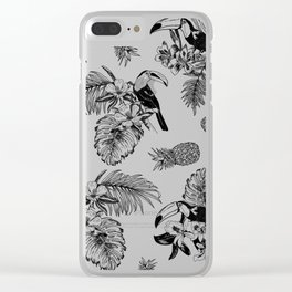 Tropical Pattern B&W Clear iPhone Case