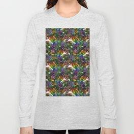 Unicorn in a Rainbow Garden Long Sleeve T-shirt