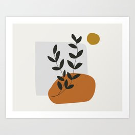Mid Century Abstract - Sun and Leaves Art Print