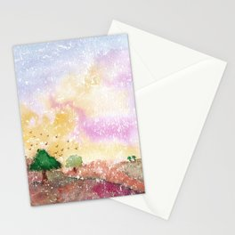 Mystical Landscape Watercolor. Stationery Cards