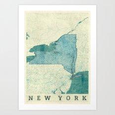 New York State Map Blue Vintage Art Print