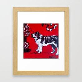 Wolfie The Black & White Dog Framed Art Print