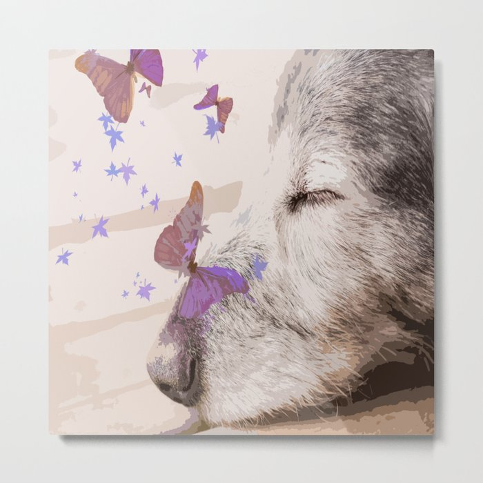 Day Dreaming - Old Dog's Nap - #society6 #buyart Metal Print
