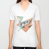 mcfly V-neck T-shirts featuring Owl McFly by carographic by carographic watercolor portraits