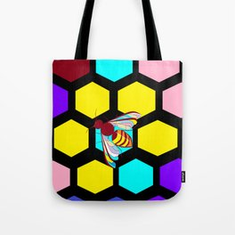 A Black Honeycomb and Bee, Multi-color Natural Tote Bag