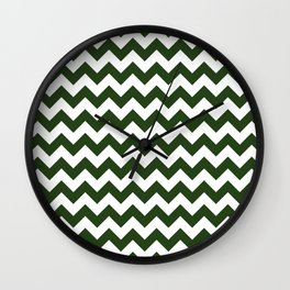 Large Dark Forest Green and White Chevron Stripe Pattern Wall Clock