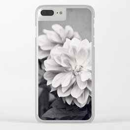 Black and White Dahlia Flower Photography, Grey Floral, Gray Neutral Nature Petals Clear iPhone Case