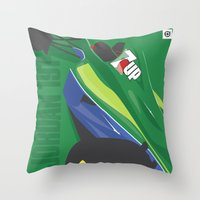 f1 Throw Pillows featuring MINIMAL F1 COLLECTION - JORDAN 191 by Daniele Sanfilippo
