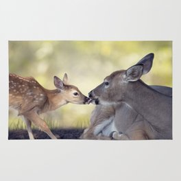 White-tailed female deer with  her  little baby Rug