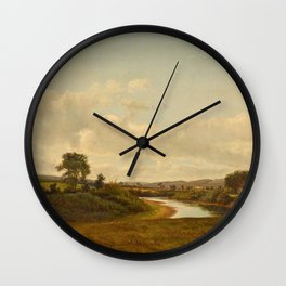 Lancaster New Hampshire Farmland 1867 By David Johnson   Reproduction   Romanticism Landscape Painte Wall Clock