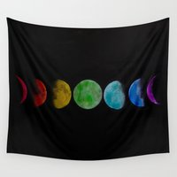 moon phases Wall Tapestries featuring phases by Stella Joy