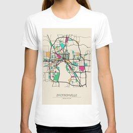 Colorful City Maps: Jacksonville, Florida T-shirt