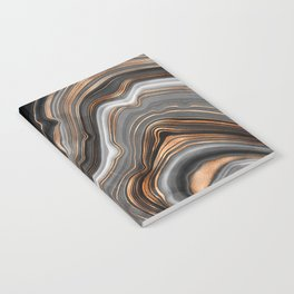 Elegant black marble with gold and copper veins Notebook