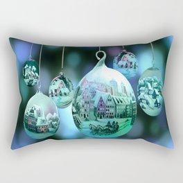 Christmas Bulbs in Blue Rectangular Pillow