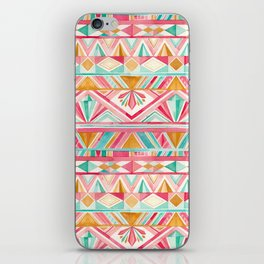 Spring Gems // Pink Gold and Turquoise Geometric Pattern iPhone Skin
