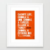 trainspotting Framed Art Prints featuring Trainspotting by Damien Koh