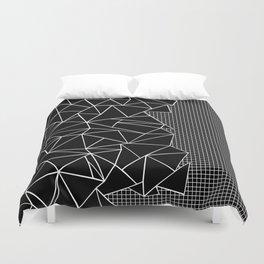 Abstract Grid Outline White on Black on Side Duvet Cover
