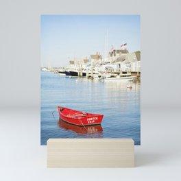 Vibrant Red Boat in Nantucket Harbor Mini Art Print