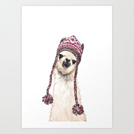The Llama with Hat Art Print