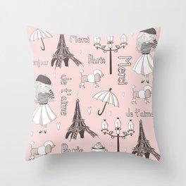 Paris Girl - Pink Throw Pillow
