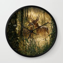 Whitetail Deer - A Golden Moment Wall Clock
