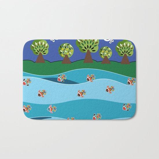 river and fish Bath Mat