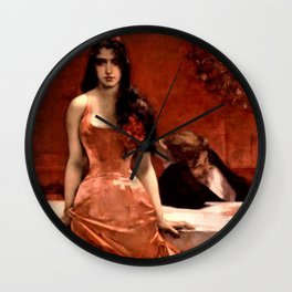 Classical Masterpiece; Circe The Temptress by Charles Hermans Wall Clock