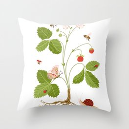 Wild Strawberries Throw Pillow