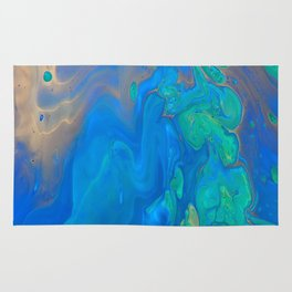 Slow Down Blue II - Bright Blue Green Fluid Painting Rug