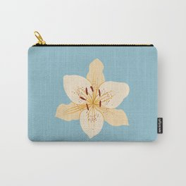 Day Lily Illustrative Art on Light Blue Carry-All Pouch