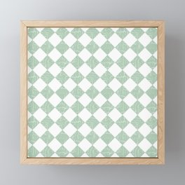 Rustic Farmhouse Checkers in Sage Green and White Framed Mini Art Print