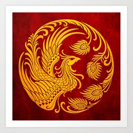 Traditional Yellow and Red Chinese Phoenix Circle Art Print