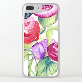 Rose watercolour flowers pin violet Clear iPhone Case
