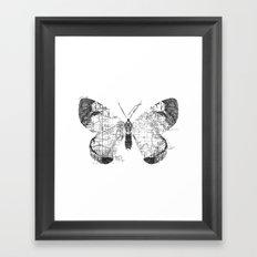 Butterfly Wanderlust Black and White Framed Art Print