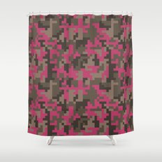 Pink and Brown Pixel Camo pattern Shower Curtain