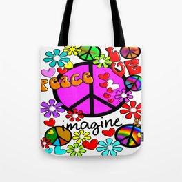 Imagine Peace Sybols Retro Style Tote Bag