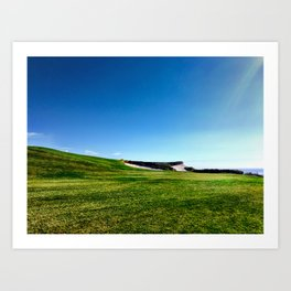 Golf course fairway and bunkers against blue sky Art Print