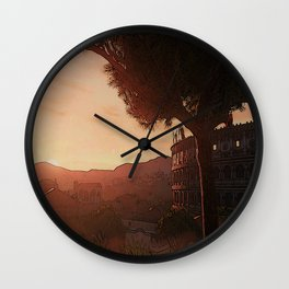 Sunset on ancient Rome Wall Clock