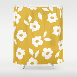 Simple Hand Cut Floral | Yellow Shower Curtain