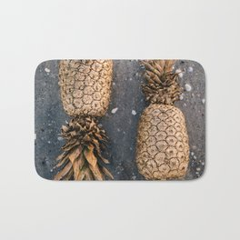 Gold Pineapple Print Bath Mat