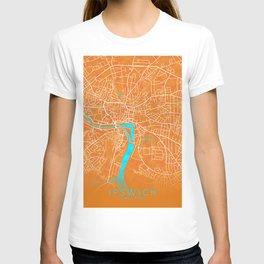 Ipswich, England, Gold, Blue, City, Map T-shirt