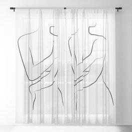 Female Body Line Art - Oh Hana Sheer Curtain