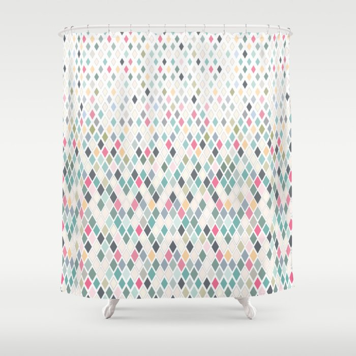 Ava Scandinavian Geometric Pattern Shower Curtain By Emilyspadoni