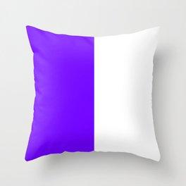 White and Indigo Violet Vertical Halves Throw Pillow